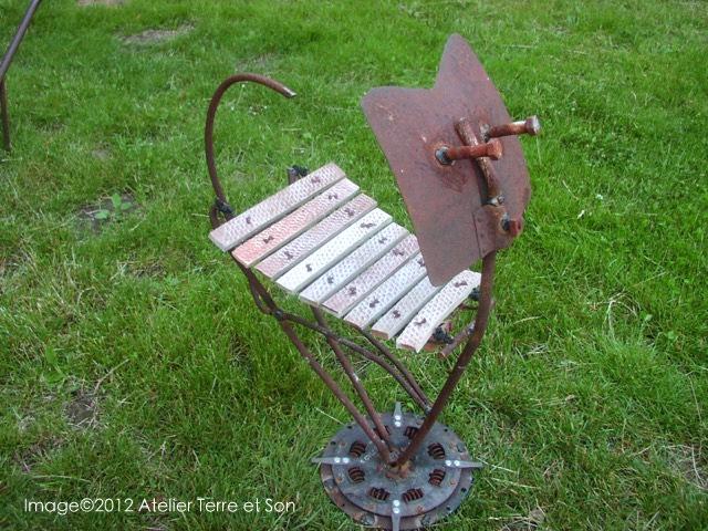 sculpture forme chat deco de jardin art singulier sonore. Black Bedroom Furniture Sets. Home Design Ideas